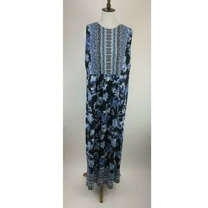 J Jill Maxi Dress Womens Medium Tall Blue B69-09Z